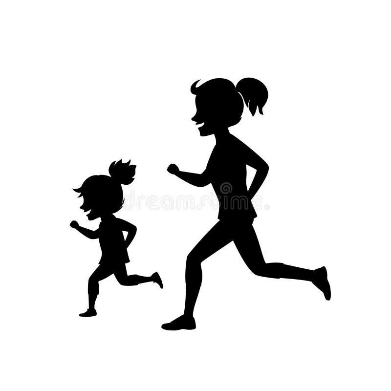 Madre e hija que corren activando junto escena de la silueta del ejemplo del vector en negro ilustración del vector