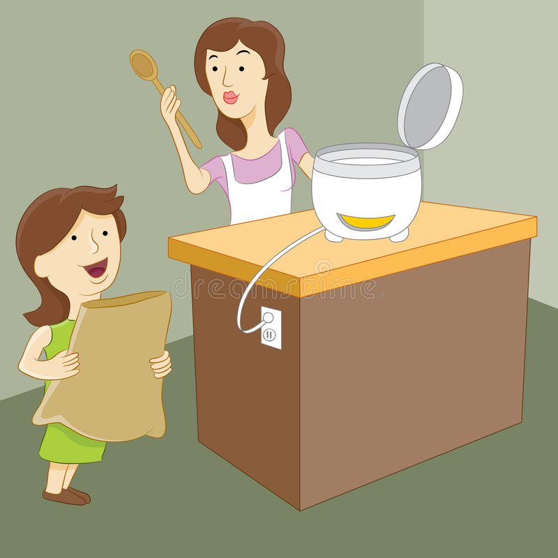 Madre e hija que hacen el arroz libre illustration