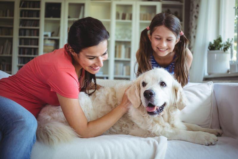 Madre e hija que se sientan con el perro casero en sala de estar fotografía de archivo libre de regalías