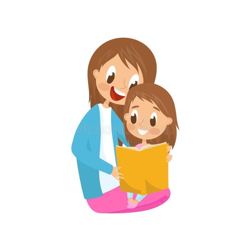 Madre e hija que se sientan en el piso y que leen un libro, mujer joven con la pequeña hija que se sienta en sus rodillas ilustración del vector