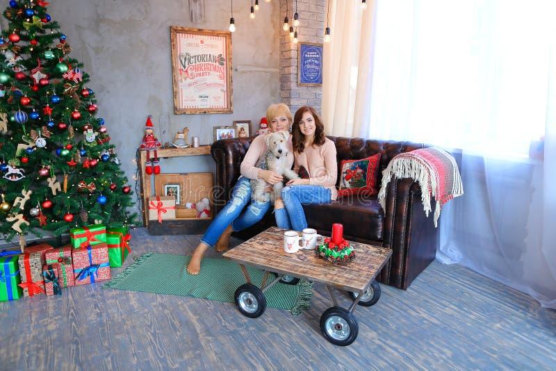Madre e hija que se sientan junto en el sofá, HOL sonriente de la mujer foto de archivo libre de regalías