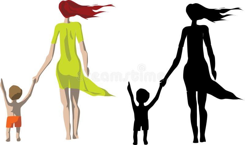 Madre e hijo de la silueta stock de ilustración