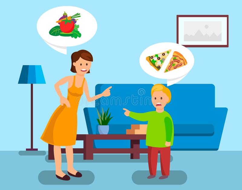 Madre e hijo que discuten el ejemplo del vector del color libre illustration