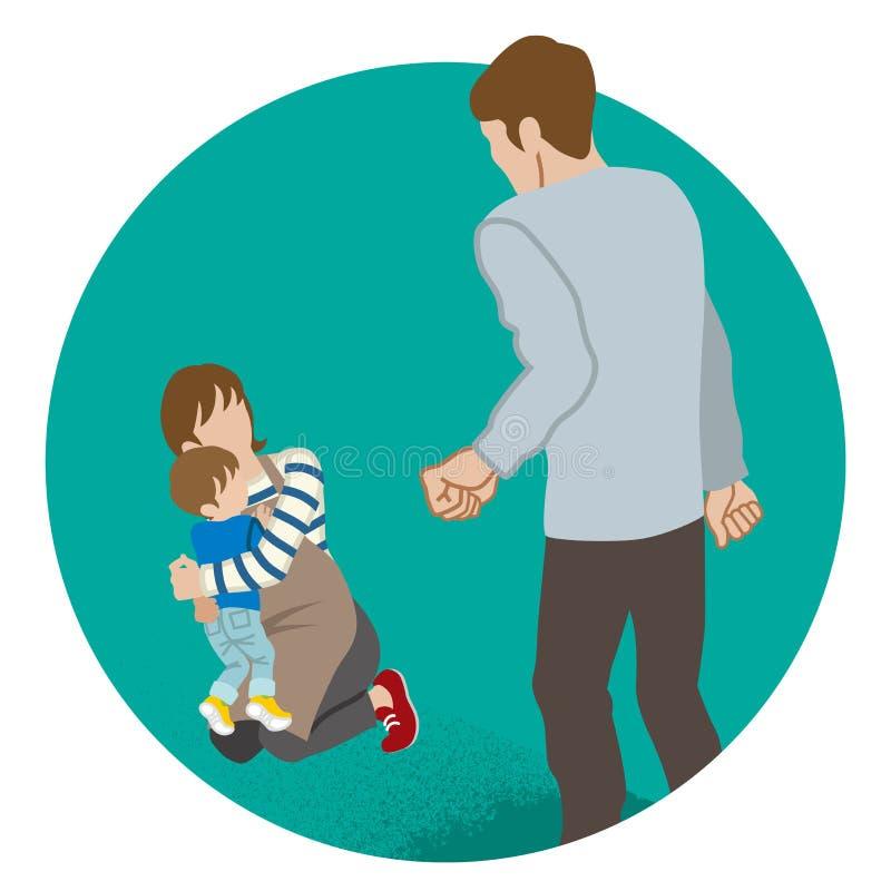 Madre e hijo que son amenazados por el padre - violencia en el hogar libre illustration