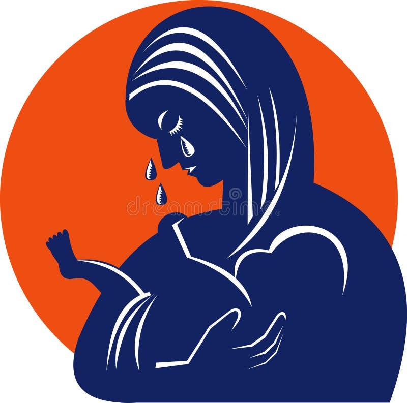Madre en rasgones con el niño del bebé stock de ilustración