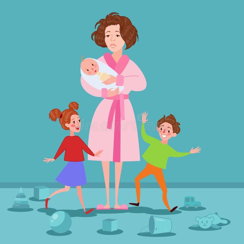 Madre esaurita con neonato e bambini Donna stanca del fumetto e bambini Romping Concetto di maternità illustrazione vettoriale