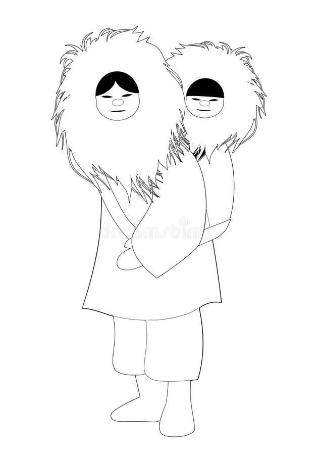 Madre eschimese con il figlio dietro la sua parte posteriore, vestiti d'uso della pelliccia, isolati su fondo bianco royalty illustrazione gratis