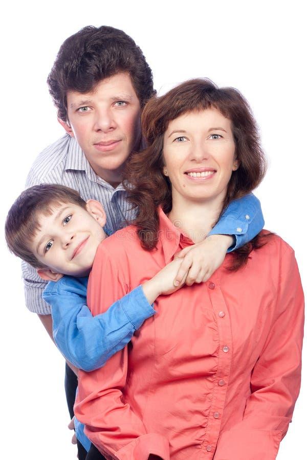 Madre felice e due figli immagine stock