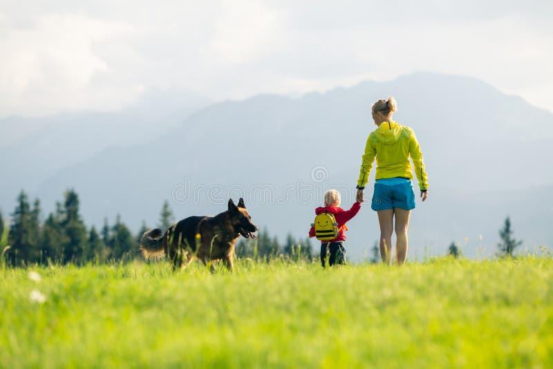 Madre feliz con el bebé que camina un perro imágenes de archivo libres de regalías