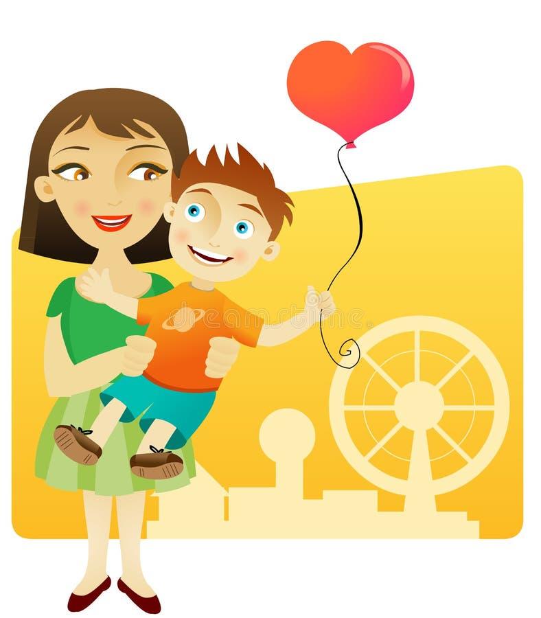 Madre feliz con el niño libre illustration
