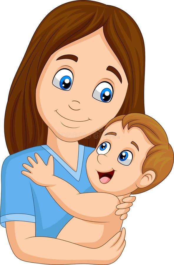 Madre feliz de la historieta que abraza a su bebé libre illustration