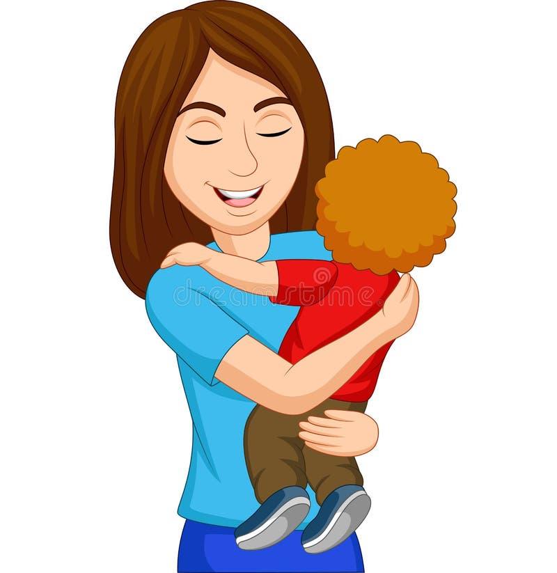 Madre feliz de la historieta que abraza a su hijo libre illustration