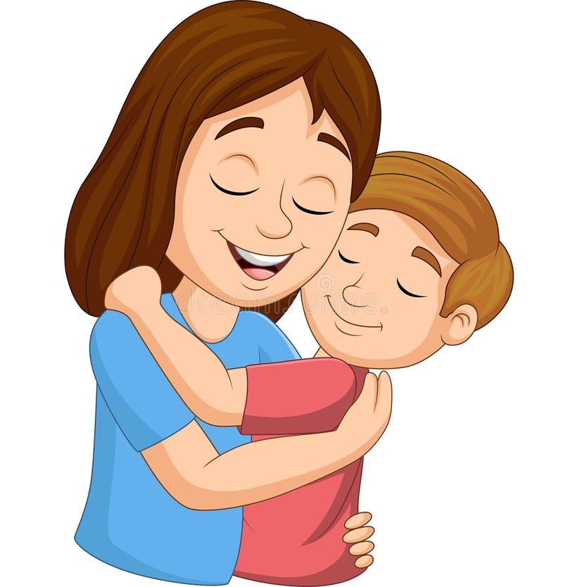 Madre feliz de la historieta que abraza a su hijo ilustración del vector