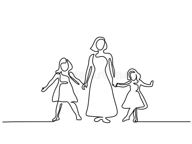 Madre feliz de la mujer con dos sus hijas stock de ilustración