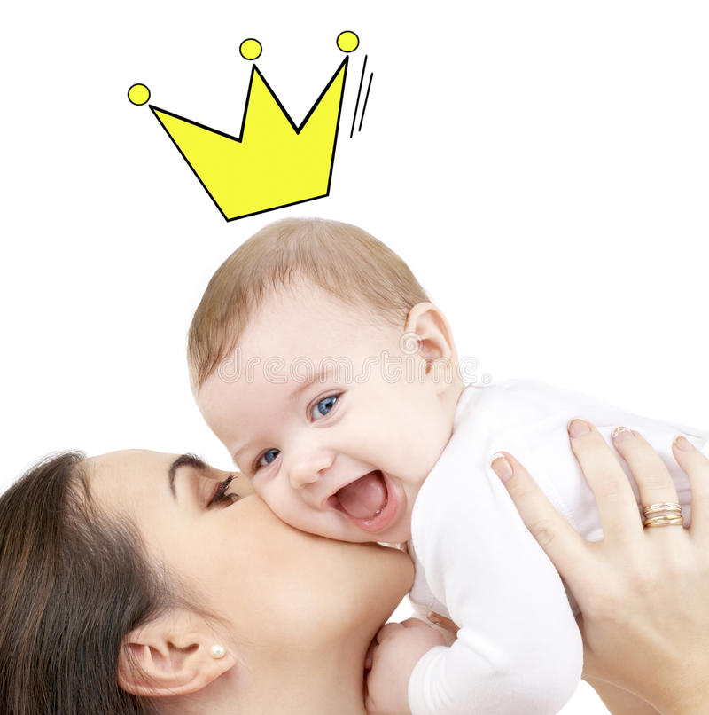 Madre feliz que besa y que celebra al bebé fotos de archivo libres de regalías