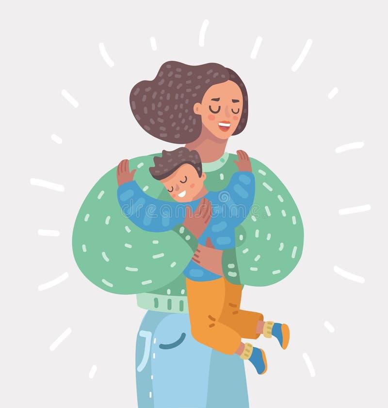 Madre feliz que celebra al hijo en sus manos maternidad libre illustration