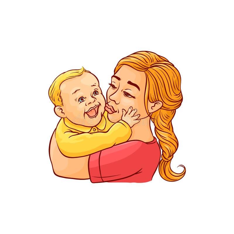 Madre feliz que celebra en brazos y que besa a su niño infantil sonriente aislado en el fondo blanco libre illustration