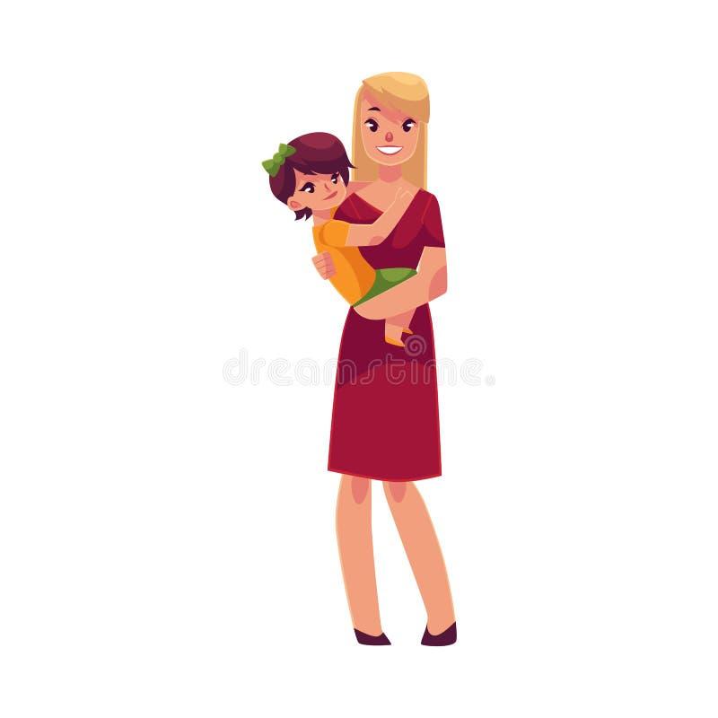Madre feliz que celebra a su hijo en manos libre illustration