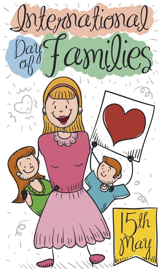Madre feliz, que cuida que celebra con el día de sus familias internacionales de los niños, ejemplo del vector ilustración del vector