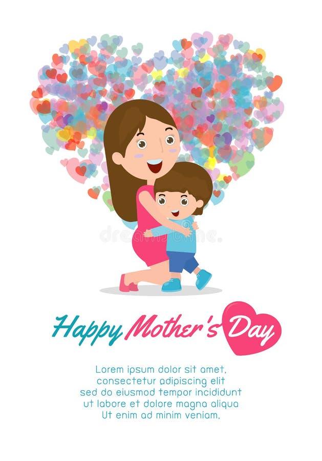 Madre hermosa con el niño Tarjeta del día de madres feliz Ejemplo del vector con las mujeres y el niño hermosos stock de ilustración