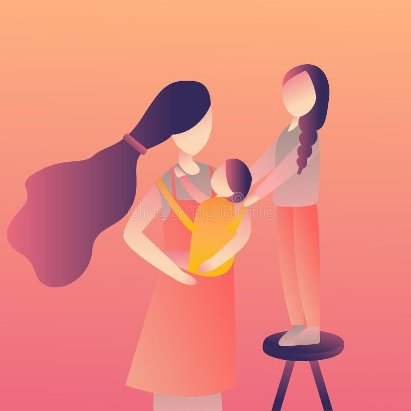 Madre hermosa con su niño del bebé que lo detiene en ella manos que cuidan Historieta plana moderna del ejemplo del vector del es libre illustration