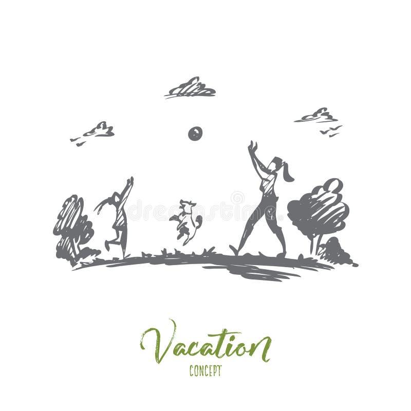 Madre, hija, familia, parenting, concepto de las vacaciones Vector aislado dibujado mano stock de ilustración