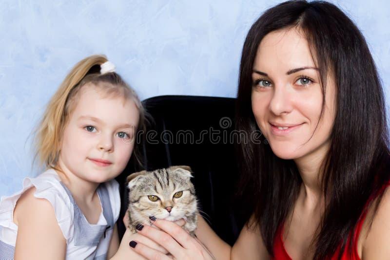 Download Madre, hija y gatito gris imagen de archivo. Imagen de muchacha - 42444357