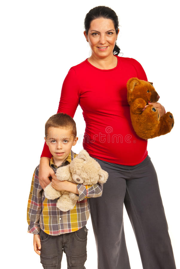 Madre incinta con il figlio immagini stock libere da diritti