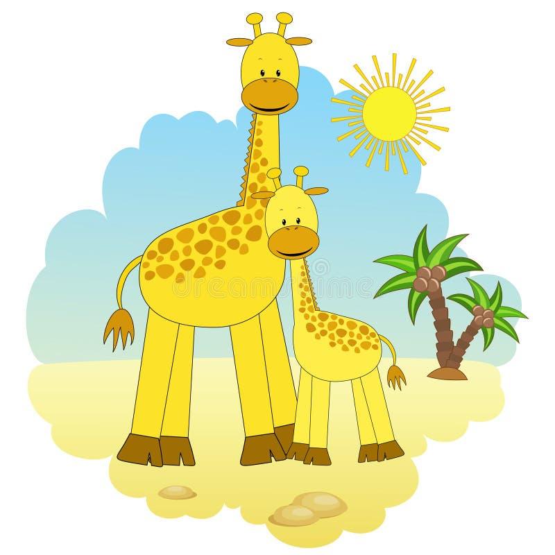 Madre-jirafa y bebé-jirafa. ilustración del vector