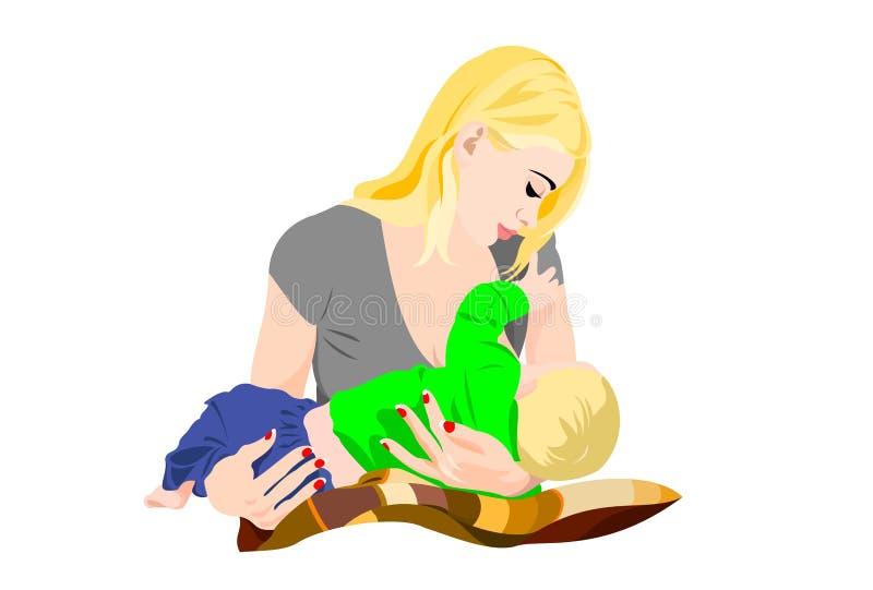 madre joven con el bebé en sus brazos que amamanta ilustración del vector