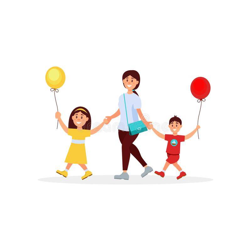 Madre joven que camina con sus pequeños niños Mamá, hijo e hija Muchacho y muchacha que sostienen los globos en manos Día de la f ilustración del vector