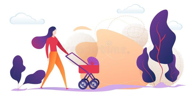 Madre joven que empuja el cochecito de bebé en campo libre illustration