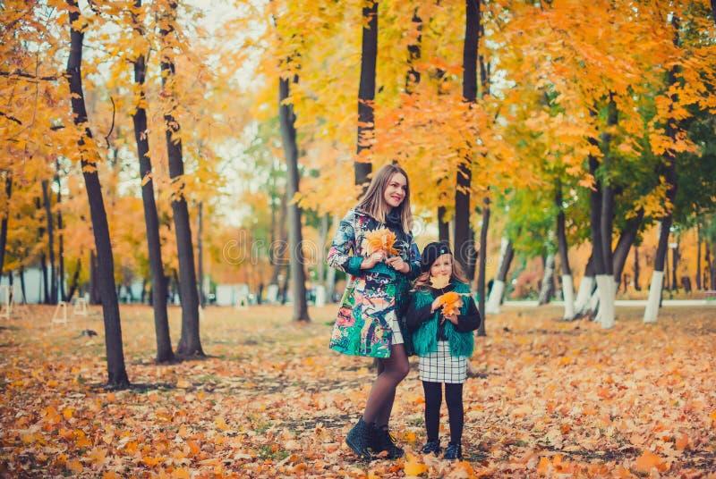 Madre joven que juega con su hija en parque del otoño imágenes de archivo libres de regalías