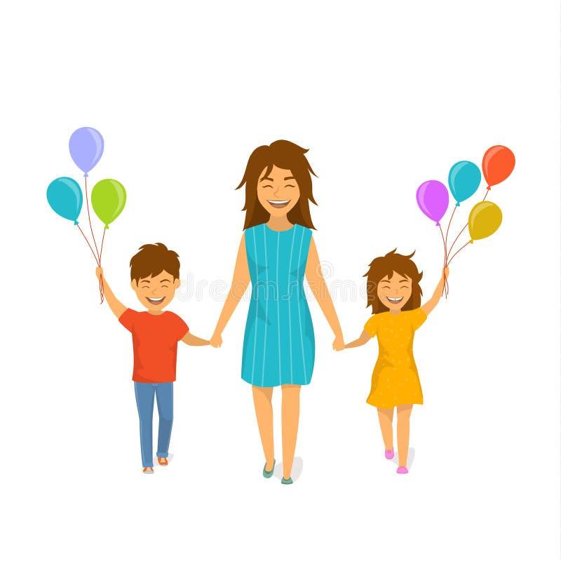 Madre linda y niños alegres, muchacho y muchacha caminando con los globos juntas que llevan a cabo las manos, día de madres feliz ilustración del vector
