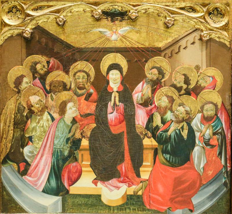 Madre Maria e gli apostoli alla Pentecoste immagine stock