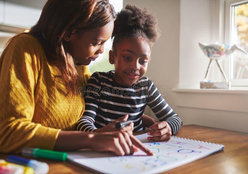 Madre negra que aprende a su hija el alfabeto imagen de archivo libre de regalías