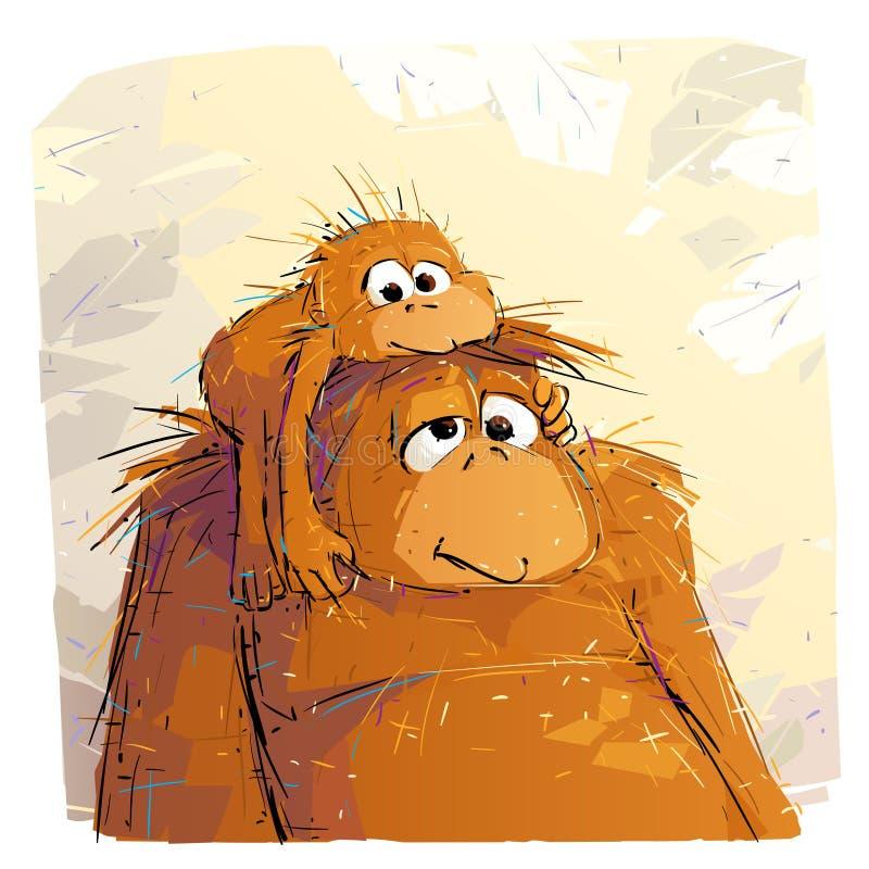 Madre Orangutan Y Su Bebé stock de ilustración