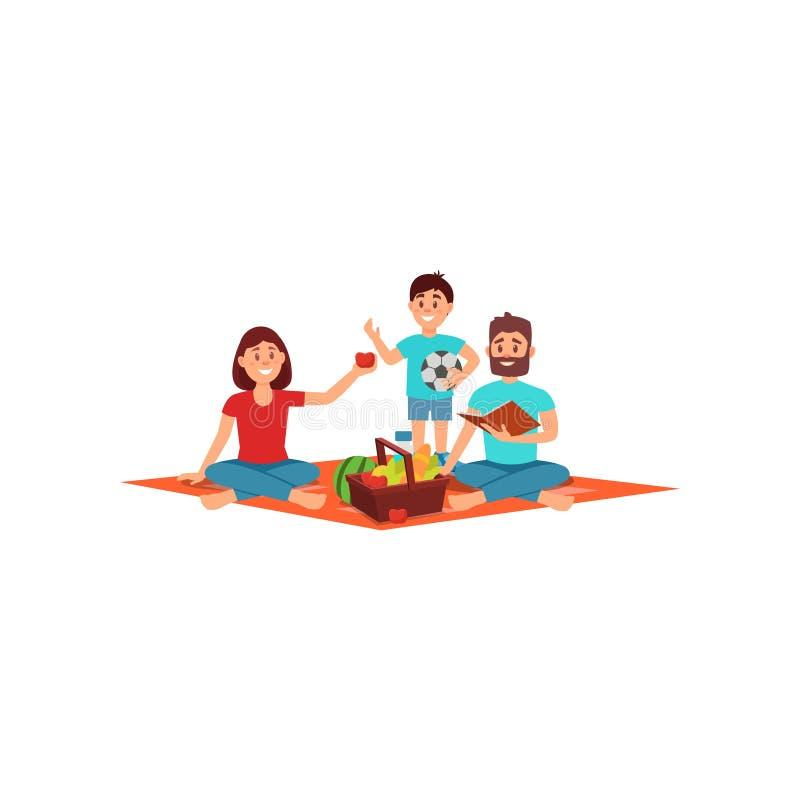 Madre, padre ed il loro piccolo figlio sul picnic Ricreazione della famiglia sulla natura Attività all'aperto di estate Progettaz illustrazione vettoriale