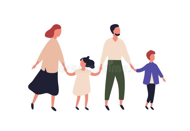 Madre, padre, figlio e figlia Ritratto della famiglia moderna con i bambini che camminano insieme Tenuta dei bambini e dei genito royalty illustrazione gratis