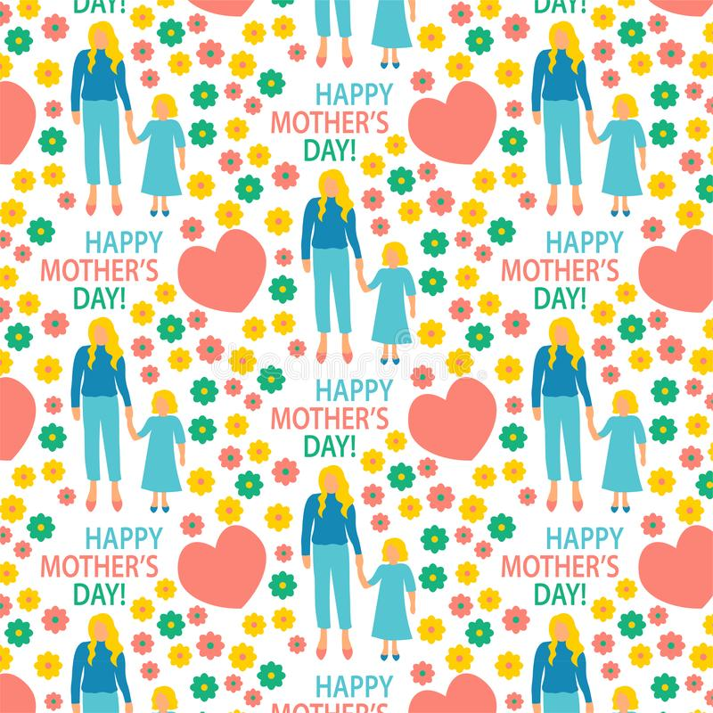 madre piana dell'illustrazione di stile della cartolina d'auguri con la stampa senza cuciture del modello della figlia felice di  illustrazione di stock