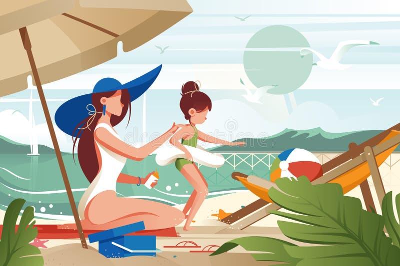 Madre piana della giovane donna con il sunblock delle sbavature del cappello sulla sua figlia s indietro illustrazione di stock