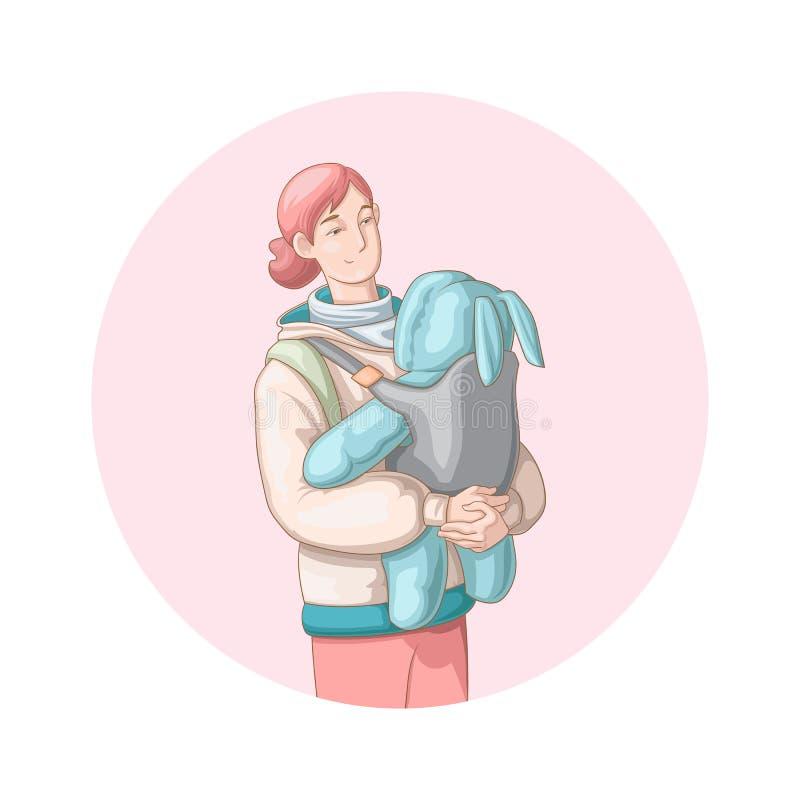 Madre que camina al aire libre con su bebé recién nacido stock de ilustración