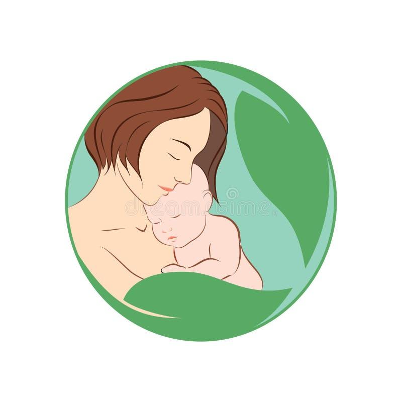 Madre que celebra su logotipo del icono del vector del bebé libre illustration