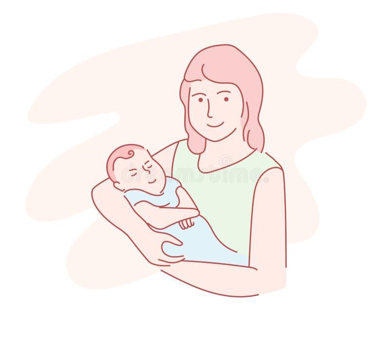 Madre que celebra una línea exhausta arte de la mano del bebé stock de ilustración