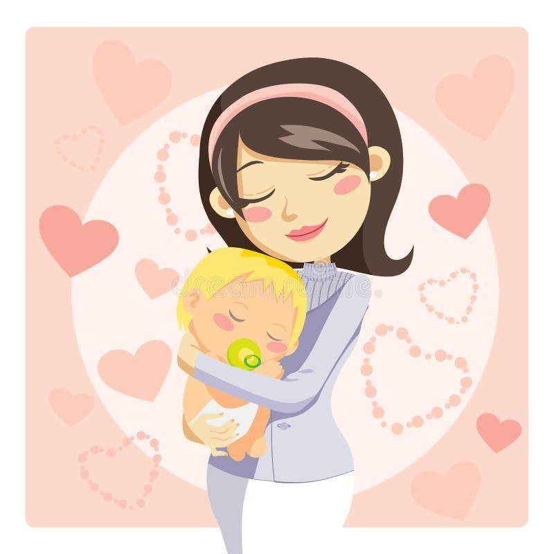 Madre que cuida stock de ilustración