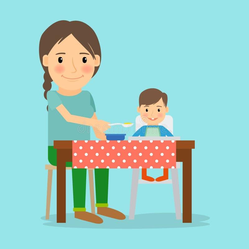 Madre que introduce a su bebé stock de ilustración
