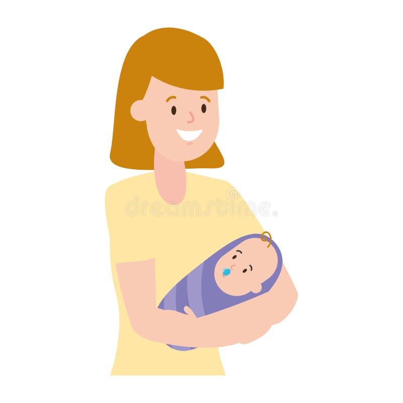 Madre que lleva a un beb? stock de ilustración