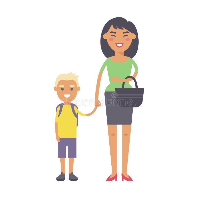 Madre sonriente de la felicidad adulta de la gente de la familia con concepto del parenting de la unidad del hijo y padre casual, libre illustration