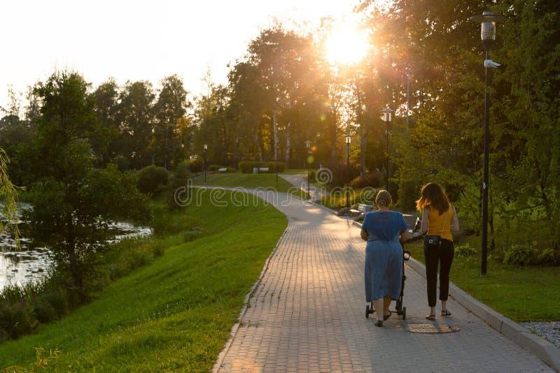 Madre y abuela con un niño en un cochecito con caminar en un parque que tiene tiempo de la familia de la calidad fotos de archivo