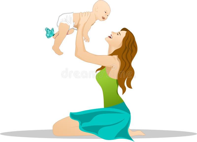 Madre y bebé stock de ilustración